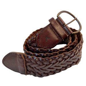 AEO Braided Brown Genuine Leather Belt L/XL
